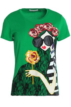 ALICE + OLIVIA Embellished embroidered lace and cotton-jersey T-shirt