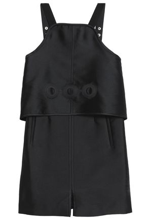 CARVEN Layered laser-cut twill mini dress