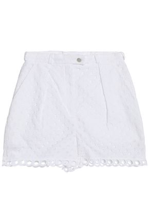 CARVEN Pleated broderie anglaise cotton shorts