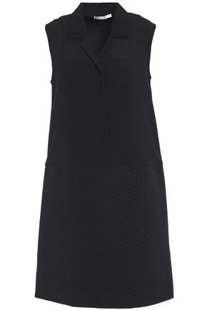 CARVEN Jacquard-paneled cotton-blend  mini dress