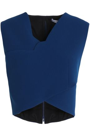 CARVEN Cropped wrap-effect crepe top