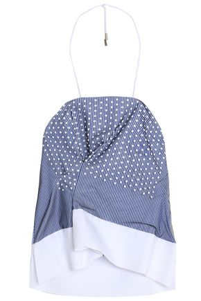 CARVEN Studded striped cotton-poplin top