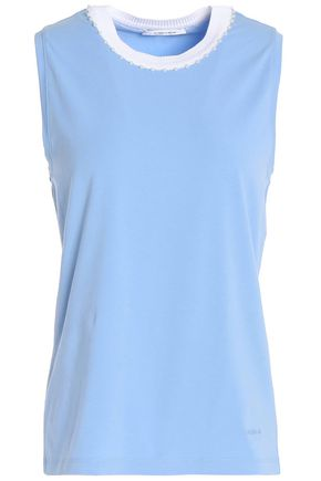 CARVEN Faux pearl-embellished cotton-blend jersey top