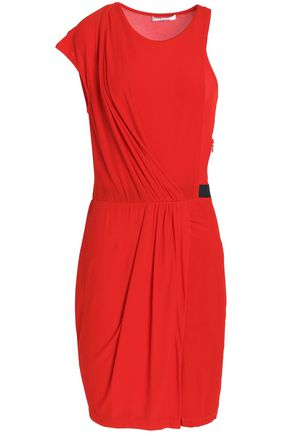 CARVEN Asymmetric draped ribbed-knit dress