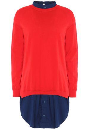 CARVEN Cotton jersey-paneled cotton-poplin mini dress