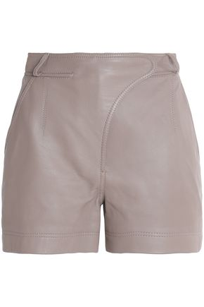 CARVEN Paneled leather shorts