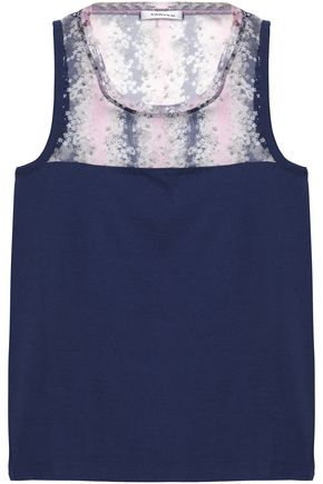 CARVEN Floral-print silk-paneled cotton-jersey top