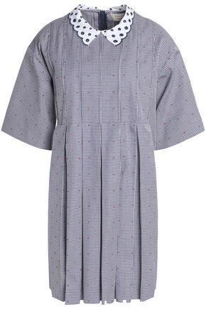 MAISON KITSUNÉ Pleated printed woven cotton mini dress