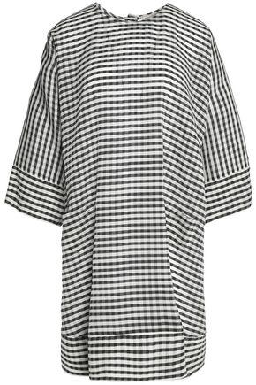 MAISON KITSUNÉ Gingham silk and wool-blend crepe dress