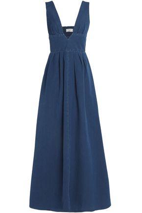 MAISON KITSUNÉ Pleated chambray maxi dress