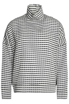 MAISON KITSUNÉ Gingham silk-blend turtleneck top