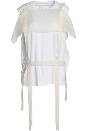 MAISON MARGIELA Organza-paneled grosgrain-trimmed cotton-jersey top