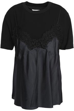 MAISON MARGIELA Layered chantilly lace-paneled silk satin-twill and jersey T-shirt