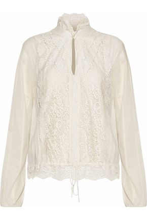 CHLOÉ Lace, gauze and cotton-poplin blouse