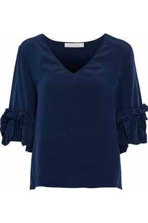SEE BY CHLOÉ Ruffle-trimmed washed-silk blouse