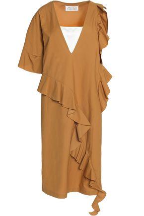 MAISON MARGIELA Asymmetric ruffled coated cotton dress