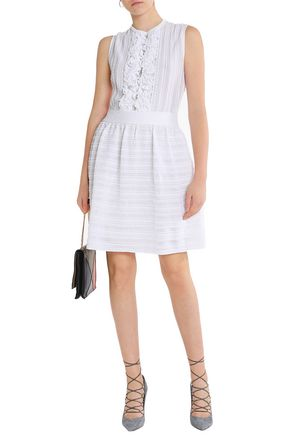 VALENTINO Flared lace-trimmed ruffled knitted dress