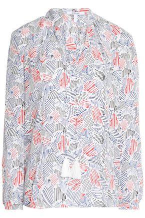 DEREK LAM 10 CROSBY Tasseled printed silk crepe de chine blouse