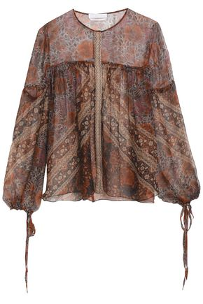 CHLOÉ Gathered silk-georgette blouse