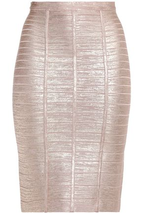 HERVÉ LÉGER Coated metallic bandage skirt
