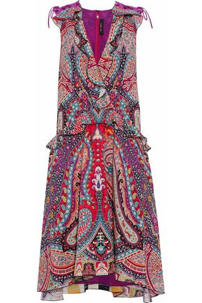ETRO Wrap-effect ruffle-trimmed printed sillk dress
