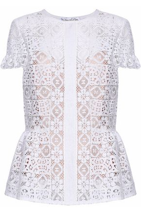 a88f65e07c21e2 OSCAR DE LA RENTA Pleated crochet-knit cotton-blend top