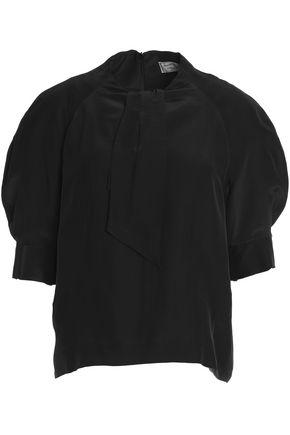MAISON KITSUNÉ Pussy-bow satin blouse