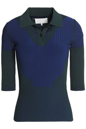 MAISON MARGIELA Two-tone ribbed stretch-knit top
