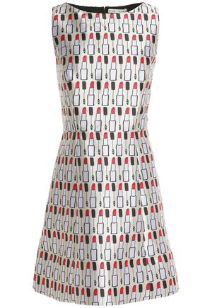 ALICE + OLIVIA Printed satin-twill mini dress