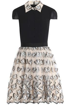 ALICE + OLIVIA Butterfly appliquéd tulle and velvet mini dress