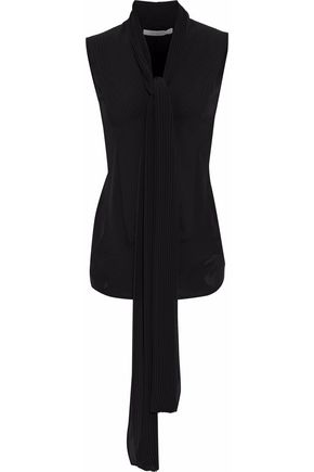 GIVENCHY Pleated two-tone silk-crepe top
