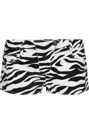 PIERRE BALMAIN Zebra-print mid-rise denim shorts