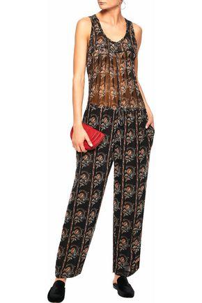 ISABEL MARANT ÉTOILE Pleated printed silk-georgette jumpsuit