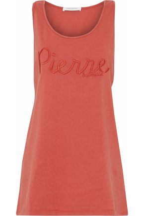 PIERRE BALMAIN Embroidered cotton-jersey tank