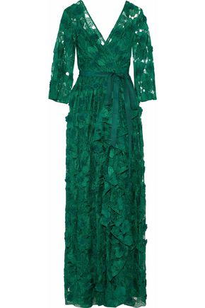 BADGLEY MISCHKA Wrap-effect floral-appliquéd ruffled guipure lace gown
