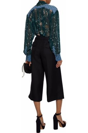SEE BY CHLOÉ Pussy-bow paneled printed georgette blouse