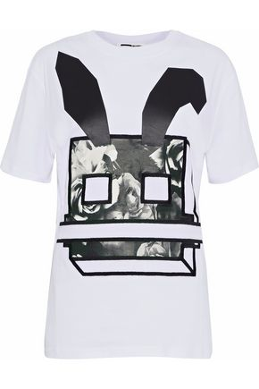McQ Alexander McQueen Embroidered printed cotton-jersey T-shirt