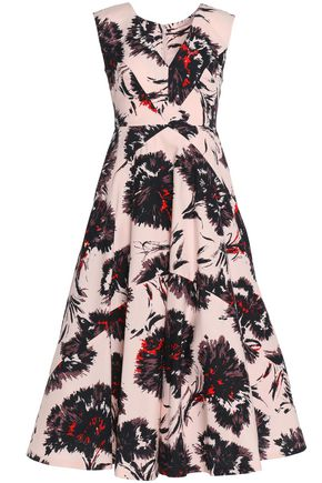 MIKAEL AGHAL Paneled printed cotton-twill dress