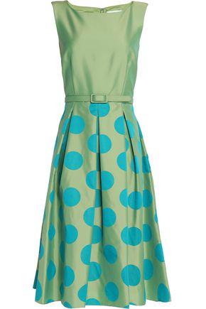 MIKAEL AGHAL Pleated polka-dot satin-twill dress