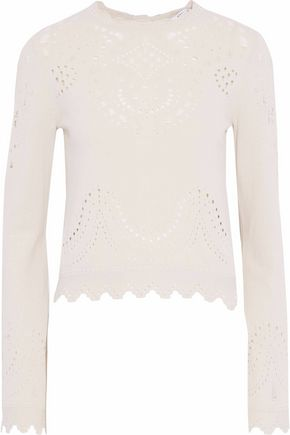 DEREK LAM 10 CROSBY Scalloped open-knit cotton sweater