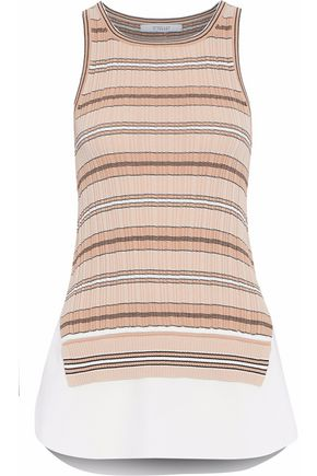 DEREK LAM 10 CROSBY Layered striped knit and cotton-poplin top