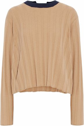DEREK LAM 10 CROSBY Two-tone tie-back ribbed-knit wool and cashmere-blend top