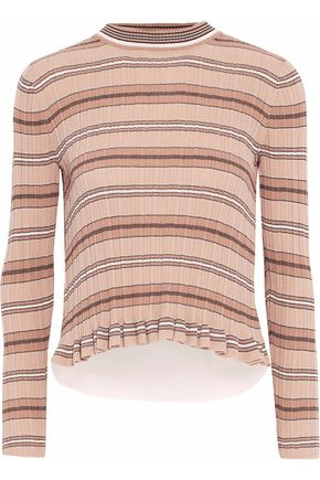 DEREK LAM 10 CROSBY Layered striped ribbed-knit and poplin cotton sweater