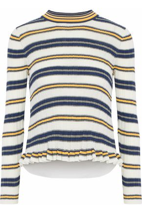 DEREK LAM 10 CROSBY Layered pleated striped cotton-jersey sweater