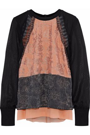 3.1 PHILLIP LIM Lace-trimmed silk-chiffon top