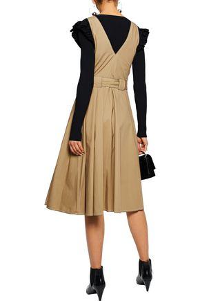 DEREK LAM 10 CROSBY Pleated cotton-poplin wrap dress