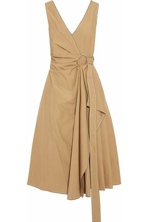 DEREK LAM 10 CROSBY Pleated cotton-poplin wrap dress