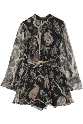ZIMMERMANN Floral-print silk-crepon playsuit