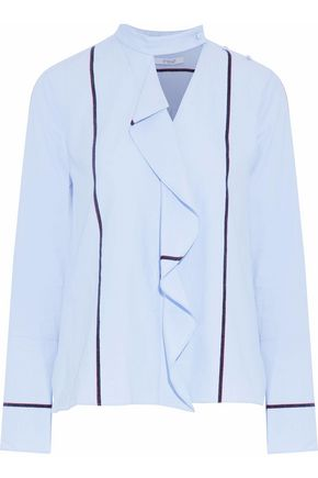 DEREK LAM 10 CROSBY Ruffled cotton-poplin shirt