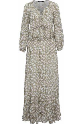 DEREK LAM Lace-up ruffled snake-print silk-georgette maxi dress